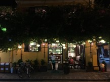 a coffee shop at night