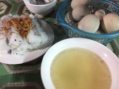 Banh Cuon (stuffed pancake) in Meo Vac style